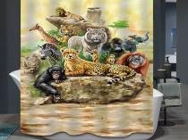 Ткани-Животных-leopard-Занавески-Для-Душа-Главная-Ванная-Комната-Шторы-3d-слон-медведь-павлин-жираф-Водонепроницаемый