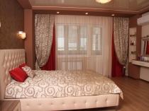 шторы и покрывала для спальни в современном стиле одного