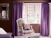 Сиреневые шторы в интерьере спальни, гостиной, кухни, зала и детской комнаты, фото примеры