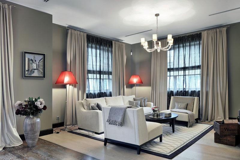 Модный дизайн штор в интерьере гостиной зал фото