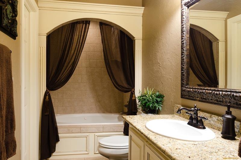 124Дизайн ванной комнаты со шторами