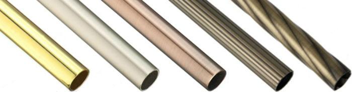Карнизы-трубы зачастую комплектуются направляющими разного сечения, на фото лицевая диаметром 25 мм, внутренняя – 16 мм