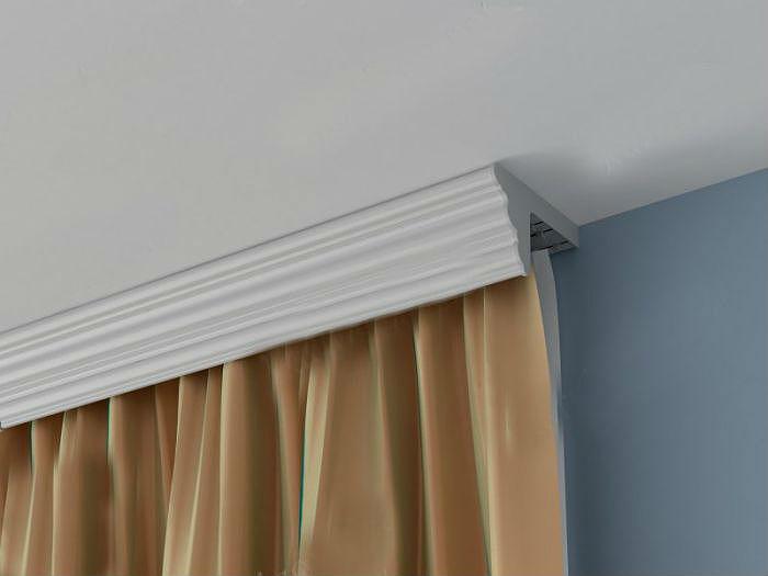 Карниз для штор в цвет потолка гармонично вписывается в любой стиль интерьера