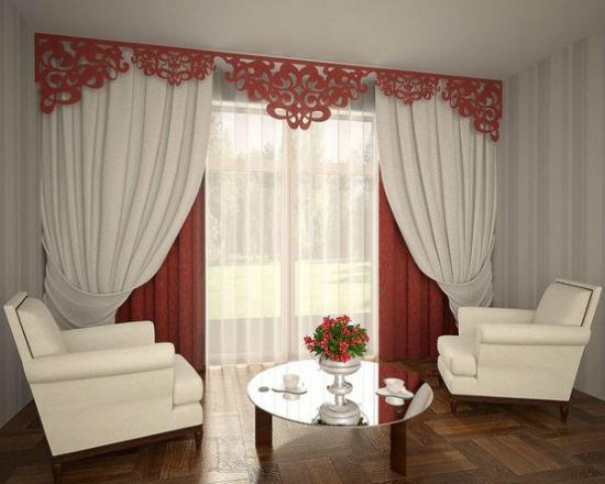 На фото хорошо видно, что карнизы под ламбрекен растворяются в интерьере и служат для демонстрации дизайна штор во всей красе