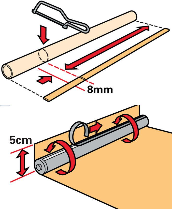 Схема, как правильно обрезать рулонные шторы