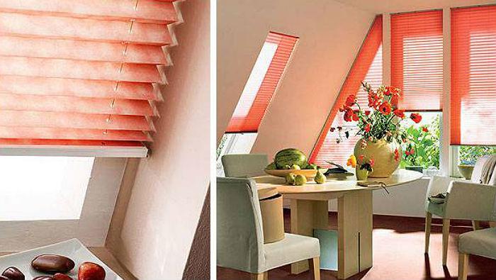 Фото иллюстрация, как оформить мансардные окна, жалюзи из плиссированного материала универсальны, подходят для простых и сложны по форме проемов