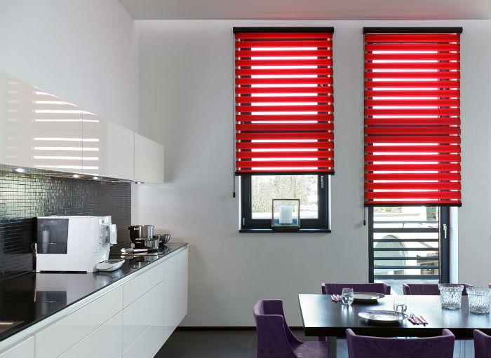 Рулонные шторы Зебра могут быть незаметны в интерьере или, наоборот, как на фото быть акцентным, ярким элементом