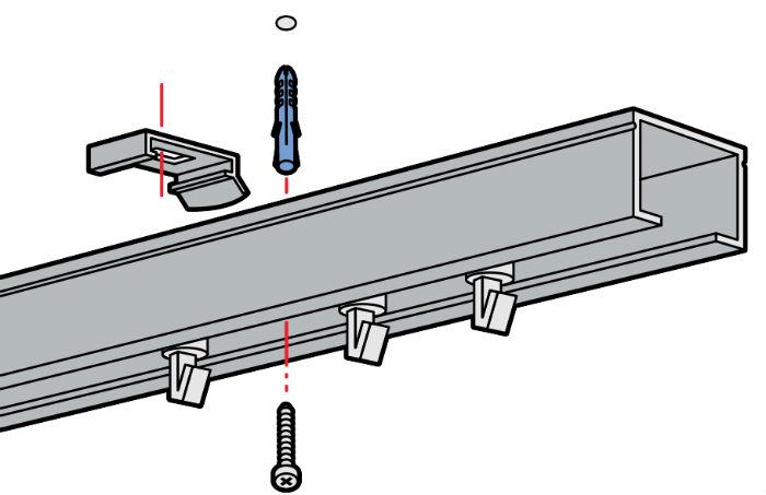 Потолочное крепление оптимально в том случае, если необходимо зрительно увеличить высоту помещения