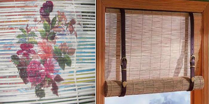Слева - трубочки собраны, на полотно можно своими руками нанести любой рисунок, справа – оригинальный «механизм» управления шторами
