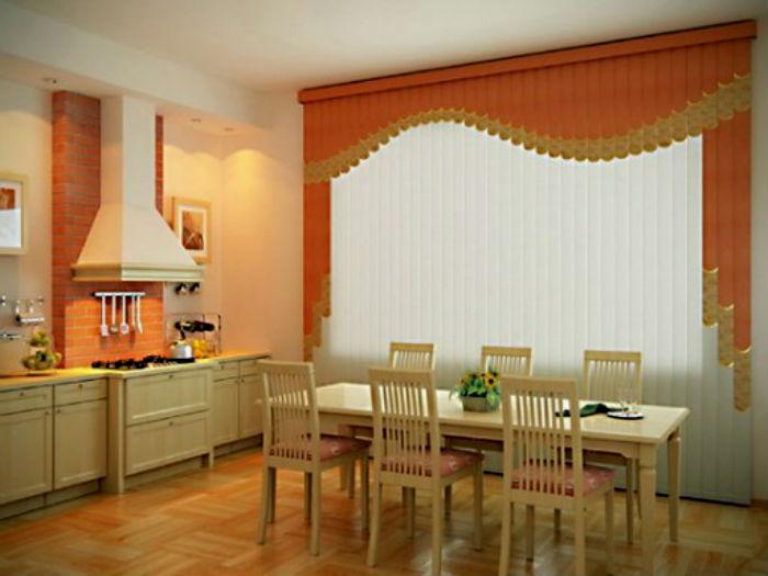Мультифактурные кухонные жалюзи, исполненные под классический вид штор