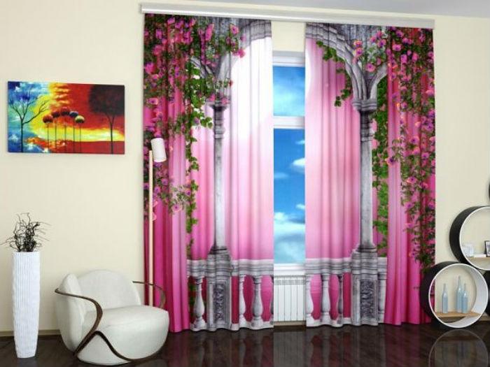 Габардиновые шторы с термопечатью можно стирать в деликатном режиме