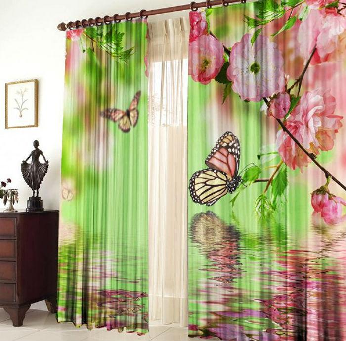Яркие шторы станут безусловным украшением интерьера