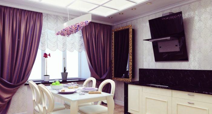 На примере видно, как выглядят фиолетовые шторы в интерьере кухни