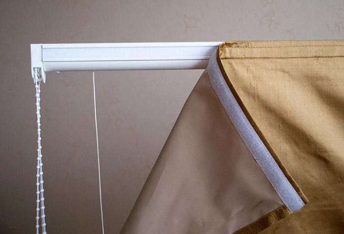 Крепление шторы с помощью велкро-липучки