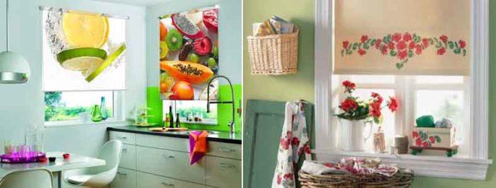 Рулонные шторы с фотопечатью в интерьере кухни