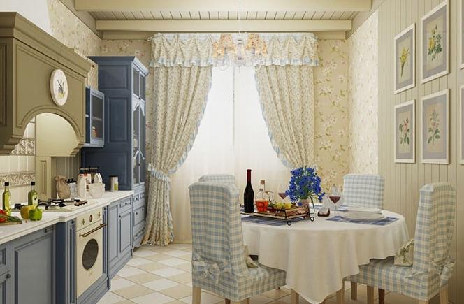 Длинные шторы на увеличенных окнах кухни-столовой