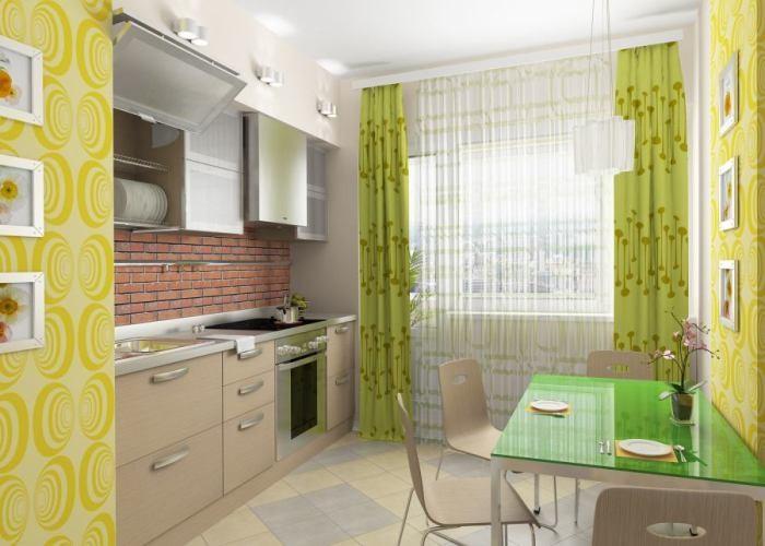 Зеленые шторы в интерьере кухни