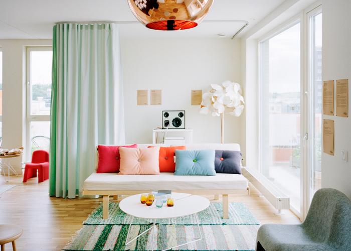 Мятные шторы в дизайне 2018 года