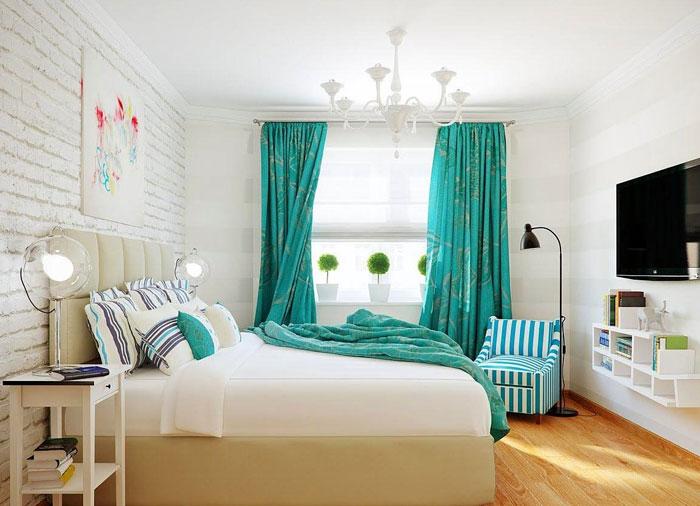 Роскошная бирюза в спальне