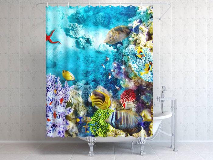 Модель фотоштор с морским дизайном ‒ практичное украшение ванной комнаты