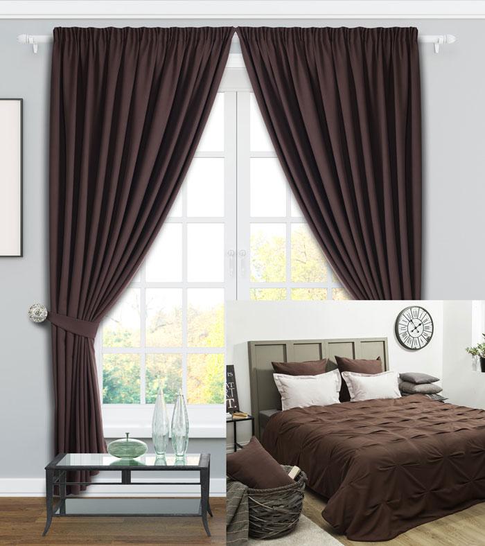 Коричневый цвет штор для оформления спальни