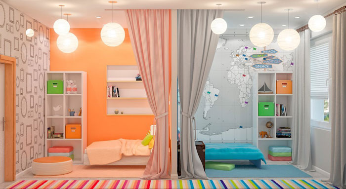 Зонирование с детской для разнополых детей с помощью штор – тренд 2018 года