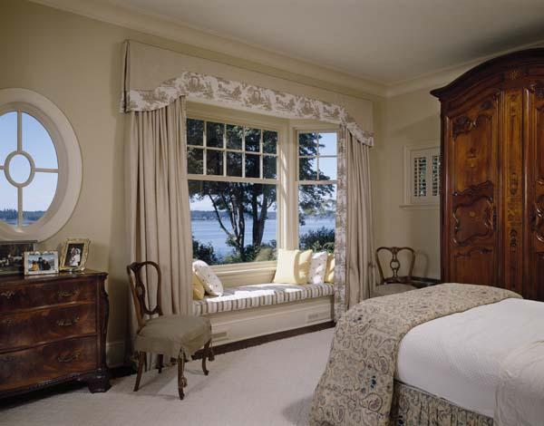 качестве базового дизайн комнаты с круглым окном вместо угла белье или